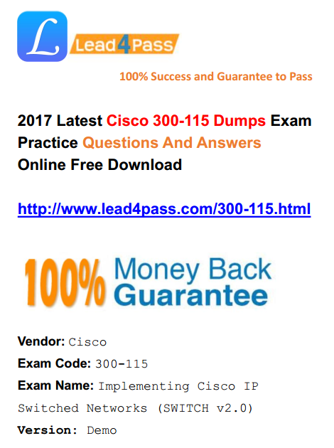 High Quality Cisco Questions] Latest Cisco CCDP 300-115 Dumps Exam